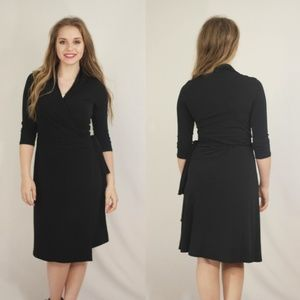 NEW Solid Wrap Dress - Black
